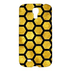 Hexagon2 Black Marble & Gold Paint Samsung Galaxy S4 I9500/i9505 Hardshell Case by trendistuff