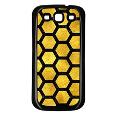 Hexagon2 Black Marble & Gold Paint Samsung Galaxy S3 Back Case (black) by trendistuff