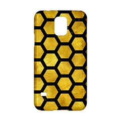 Hexagon2 Black Marble & Gold Paint Samsung Galaxy S5 Hardshell Case  by trendistuff
