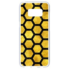 Hexagon2 Black Marble & Gold Paint Samsung Galaxy S8 White Seamless Case by trendistuff
