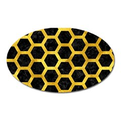 Hexagon2 Black Marble & Gold Paint (r) Oval Magnet by trendistuff