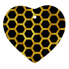 Hexagon2 Black Marble & Gold Paint (r) Heart Ornament (two Sides) by trendistuff