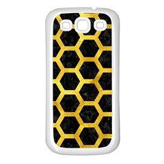 Hexagon2 Black Marble & Gold Paint (r) Samsung Galaxy S3 Back Case (white) by trendistuff