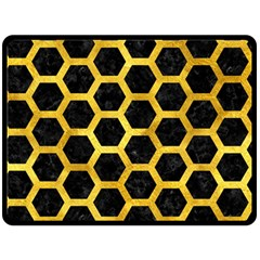 Hexagon2 Black Marble & Gold Paint (r) Double Sided Fleece Blanket (large)  by trendistuff