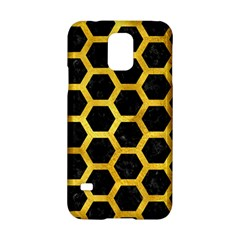 Hexagon2 Black Marble & Gold Paint (r) Samsung Galaxy S5 Hardshell Case  by trendistuff