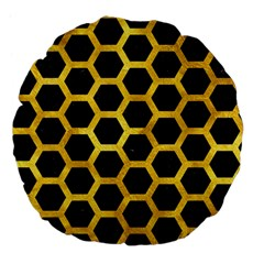 Hexagon2 Black Marble & Gold Paint (r) Large 18  Premium Flano Round Cushions by trendistuff