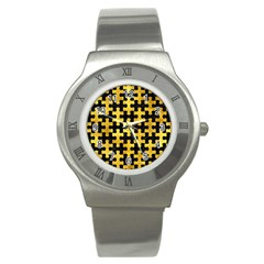 Puzzle1 Black Marble & Gold Paint Stainless Steel Watch by trendistuff