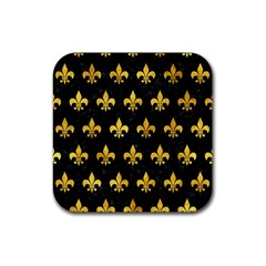 Royal1 Black Marble & Gold Paint Rubber Coaster (square)  by trendistuff