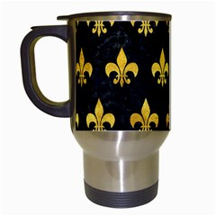 Royal1 Black Marble & Gold Paint Travel Mugs (white) by trendistuff