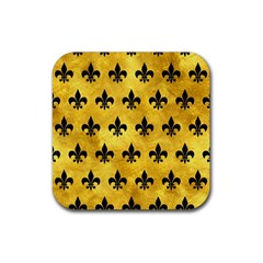 Royal1 Black Marble & Gold Paint (r) Rubber Square Coaster (4 Pack)  by trendistuff