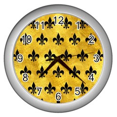 Royal1 Black Marble & Gold Paint (r) Wall Clocks (silver)  by trendistuff
