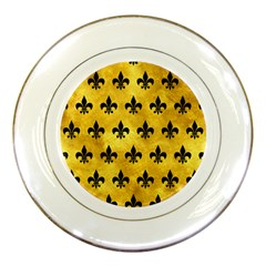 Royal1 Black Marble & Gold Paint (r) Porcelain Plates by trendistuff