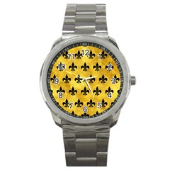 Royal1 Black Marble & Gold Paint (r) Sport Metal Watch by trendistuff