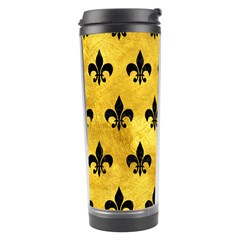 Royal1 Black Marble & Gold Paint (r) Travel Tumbler by trendistuff
