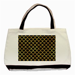 Scales1 Black Marble & Gold Paint (r) Basic Tote Bag (two Sides) by trendistuff