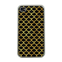 Scales1 Black Marble & Gold Paint (r) Apple Iphone 4 Case (clear) by trendistuff