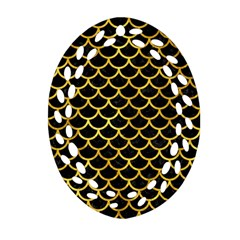 Scales1 Black Marble & Gold Paint (r) Oval Filigree Ornament (two Sides) by trendistuff