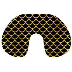 Scales1 Black Marble & Gold Paint (r) Travel Neck Pillows by trendistuff