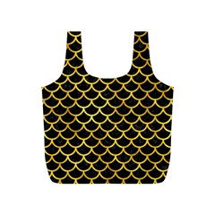 Scales1 Black Marble & Gold Paint (r) Full Print Recycle Bags (s)  by trendistuff
