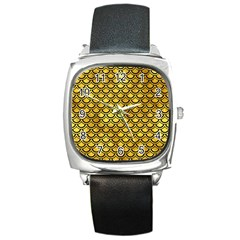 Scales2 Black Marble & Gold Paint Square Metal Watch by trendistuff