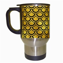 Scales2 Black Marble & Gold Paint Travel Mugs (white) by trendistuff