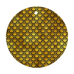 Scales2 Black Marble & Gold Paint Round Ornament (two Sides) by trendistuff