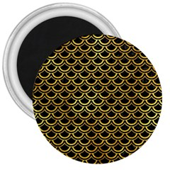 Scales2 Black Marble & Gold Paint (r) 3  Magnets by trendistuff