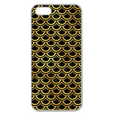 Scales2 Black Marble & Gold Paint (r) Apple Seamless Iphone 5 Case (clear) by trendistuff