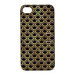 Scales2 Black Marble & Gold Paint (r) Apple Iphone 4/4s Hardshell Case With Stand by trendistuff