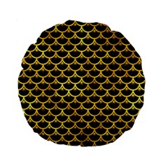 Scales3 Black Marble & Gold Paint (r) Standard 15  Premium Flano Round Cushions by trendistuff