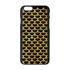 Scales3 Black Marble & Gold Paint (r) Apple Iphone 6/6s Black Enamel Case by trendistuff