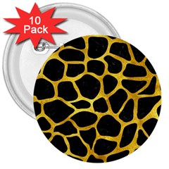 Skin1 Black Marble & Gold Paint 3  Buttons (10 Pack)  by trendistuff