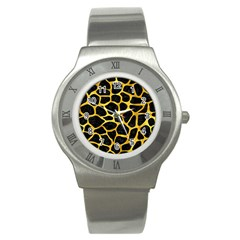 Skin1 Black Marble & Gold Paint Stainless Steel Watch by trendistuff