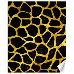 Skin1 Black Marble & Gold Paint Canvas 16  X 20   by trendistuff