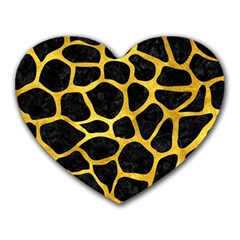 Skin1 Black Marble & Gold Paint Heart Mousepads by trendistuff