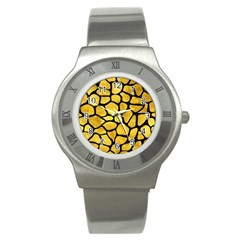 Skin1 Black Marble & Gold Paint (r) Stainless Steel Watch by trendistuff