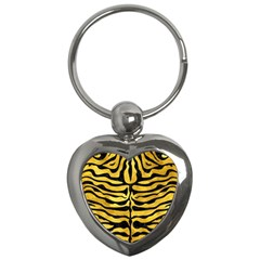 Skin2 Black Marble & Gold Paint Key Chains (heart)  by trendistuff