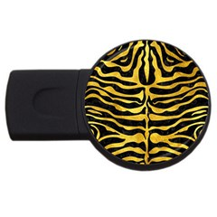 Skin2 Black Marble & Gold Paint (r) Usb Flash Drive Round (2 Gb)