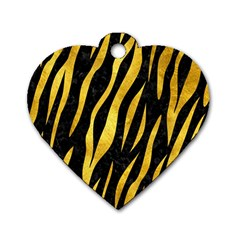 Skin3 Black Marble & Gold Paint (r) Dog Tag Heart (two Sides) by trendistuff
