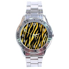 Skin3 Black Marble & Gold Paint (r) Stainless Steel Analogue Watch by trendistuff