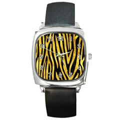 Skin4 Black Marble & Gold Paint Square Metal Watch by trendistuff