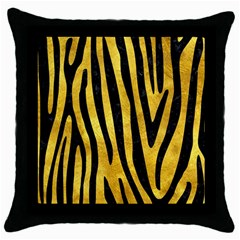 Skin4 Black Marble & Gold Paint (r) Throw Pillow Case (black)
