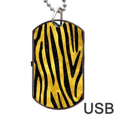 Skin4 Black Marble & Gold Paint (r) Dog Tag Usb Flash (one Side) by trendistuff