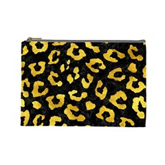 Skin5 Black Marble & Gold Paint Cosmetic Bag (large)  by trendistuff