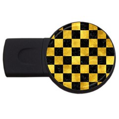 Square1 Black Marble & Gold Paint Usb Flash Drive Round (2 Gb) by trendistuff