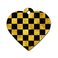 Square1 Black Marble & Gold Paint Dog Tag Heart (one Side) by trendistuff