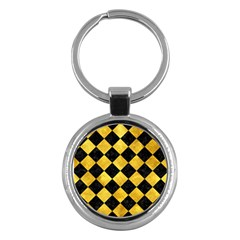 Square2 Black Marble & Gold Paint Key Chains (round)  by trendistuff