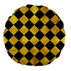 Square2 Black Marble & Gold Paint Large 18  Premium Flano Round Cushions by trendistuff