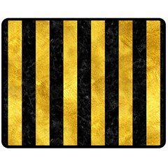 Stripes1 Black Marble & Gold Paint Double Sided Fleece Blanket (medium)  by trendistuff