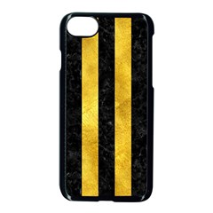 Stripes1 Black Marble & Gold Paint Apple Iphone 7 Seamless Case (black) by trendistuff